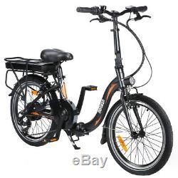20'' 250W Folding Electric Bike E-bike City Bicycle 25km/h 7 Speeds 36V 10Ah LED