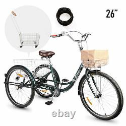26 Adult Tricycle Trike Cargo Bike Basket Digit Lock British Racing Green UK