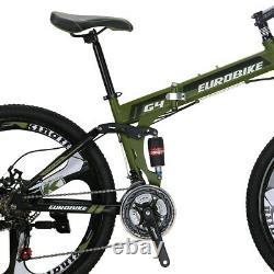 26 Folding Mountain Bike Shimano 21 Speed Foldable Bicycle Full Suspension MTB