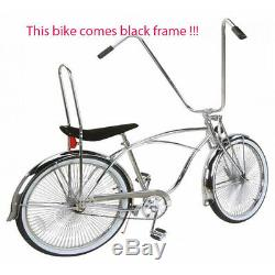 26 Lowrider bike Bicycle Beach Cruiser with 144 spokes Black Frame for adult