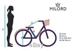 26 Zoll Damenfahrrad Citybike Retro Amsterdam Damenrad Vintage Cityrad MILORD