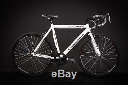 28 Zoll Alu Rennrad Single Speed GIORDANO Race Bike Fixi Fahrrad Rh 56cm weiss