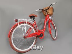28 Zoll Damenfahrrad Amsterdam Citybike Cityrad Damenrad Klassik Vintage Rot