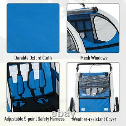 2 in 1 Child Bike Trailer Stroller Removable Canopy Kids Bicycle Transport Blue
