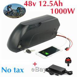 48V 12.5AH 1000W E-Bike TIGER SHARK Li-ion Battery fr Electric Bicycles Black