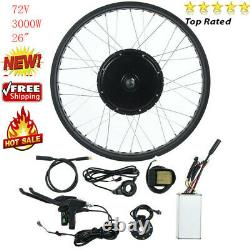 72V 3000W Electric Bicycle Motor Conversion Kit E-Bike Rear Wheel Rim 26'' Hub