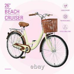 Adult Bike Ladies Comfortable Bike Single Speed Beach Cruiser Bike 26 Wheels