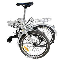 Alu Klapprad 20 Faltrad Fahrrad 6 Gang Shimano outdoor sports Silber Cityrad DE