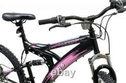 Basis 1 Full Dual Suspension Mountain Bike MTB 26 Wheel Disc Brakes 18 Sp Pink