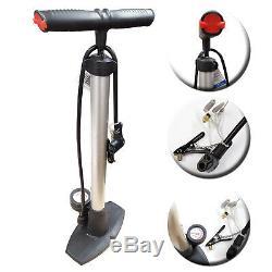 Bicycle Bike Cycle Tyre Hand Air Mini Pump Presta Shrader Valve & Pressure Gauge