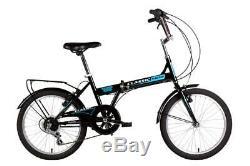 Classic Saker Folding Bike Bicycle Black Shimano 6 Speed 20 Wheels Folder