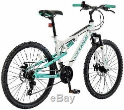 Cross DXT500 16 Inch Dual Suspension Mountain Bike White & Green