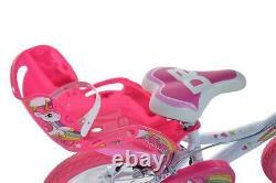 Dino Unicorn 16 Kids Single Speed Bike Girls Bicycle Pink w Stabilisers 164R-UN