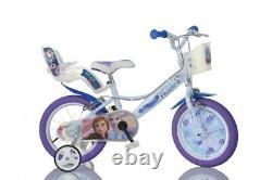 Disney Frozen 2 Film Kids Girls Bike 14 Wheel Bicycle Stabilisers 1 Speed White