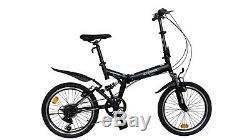 ECOSMO 20 Folding Mountain Bicycle Bike 6SP SHIMANO-20SF02BL