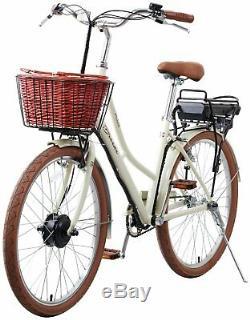 E-Plus Breeze 26 Inch Electric Heritage Ladies' Hybrid Bike Cream