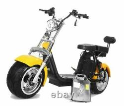 Electric Adult Motorcycle 2000W Electric Bike 8 inch Fat Tire Disc Brakes Yellow