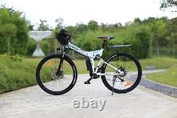 Electric Bikes Electric Mountain Bike 26 Folding E-Bike High Motor Bike (White)