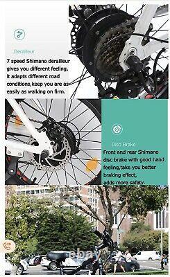 Electric Mountain Bike Fat Bike 26 High Power 36v 500w 7 speed 4 tyre NEW CE