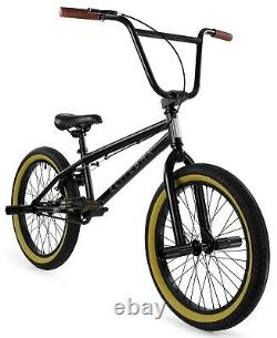 Elite 20 BMX Stealth Bicycle Freestyle Bike 1 Piece Crank Black Gum NEW 2021