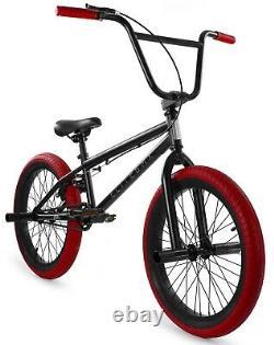 Elite 20 BMX Stealth Bicycle Freestyle Bike 1 Piece Crank Black Red NEW