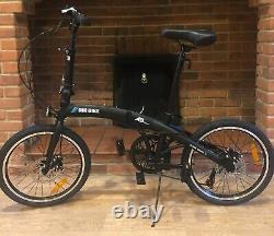 Folding Bike Black Foldable Bicycle Shimano 20 Inch, Disc Brakes Commuter Light