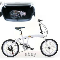 Folding Bike with 7 speed gears 20-inch Carbon Steel Double V Brake White