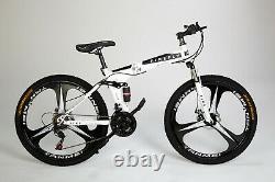 Full Suspension FIREFLY Folding Mountain Bike Bicycle 3 Spoke WHITE