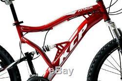 Fully 26 Zoll MTB unisex Mountainbike Rad KCP ATTACK 21 Gang SHIMANO rot DISK