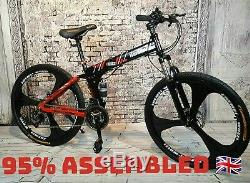 HardRoxX Mens Folding Mountain Bike, Full Suspension, Disc Brakes, 21 Speed