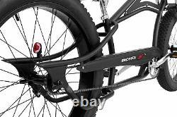 MICARGI 26 Fat Tires Stretch Beach Cruiser Bicycle Bike Seattle Matte Black