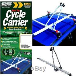 Maypole Car Roof Bar Mounted Upright Stand Cycle Bike Travel Rack Carrier 15kg