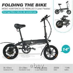 Megawheels EBike Electric Bicycle Folding Bike 250W Professional Commuter -BLACK