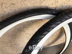 Pair of DURO Black White Wall 26x2.125 Beach Cruiser Bike Bicycle Tires Chopper