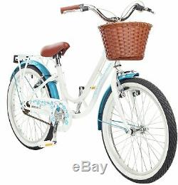 Pazzaz Petal 20 Inch Wheels 11 Inch Steel Frame Heritage Rigid Bike White/Blue
