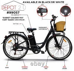 Roadhog E Bike Electric Bike Unisex BLACK with Basket & Panier, 25KPH 250W