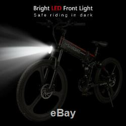 SAMEBIKE 26Inch Folding Electric Bike Bicycle E-Bike 48V 350W 10AH 21 Speed E6C3
