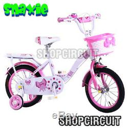 SNAXIE CHILDRENS PINK GIRLS BICYCLE With REMOVABLE STABILISERS With BRAKES 14 INCHS