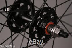 Track Bike Fixed Gear 42mm Deep Black Aero Wheelset Formula hub DT Swiss Spokes