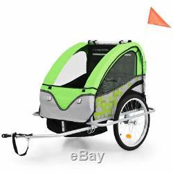 VidaXL 2-in-1 Kids' Bicycle Trailer & Stroller Green and Grey Bike Jogger