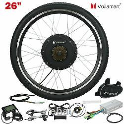 Voilamart 1000W Electric Bicycle Conversion Kit Rear Bike Wheel With LCD Meter 26