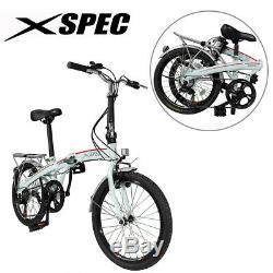 Xspec 20 7 Speed City Folding Mini Compact Bike Bicycle Commuter, White