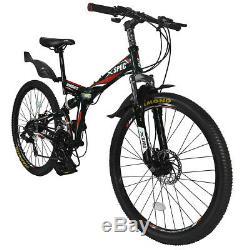 Xspec 26 21 Speed Folding Mountain Bike Bicycle Trail Commuter, Black